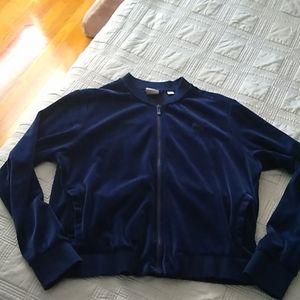 PUMA Blue Velour Zip Up XL